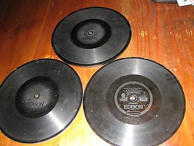Antique/vintage Edison Thick Records~Lot Of 3~These Are 10 Inch Records