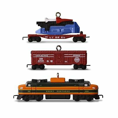 Hallmark 2016 Christmas Ornament LIONEL 2533W Great Northern Freight Set of 3...