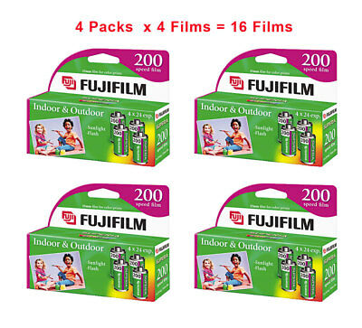 (16 Rolls) Fuji 200 35mm Film 4pk CA 135-24 Exp Fuji Camera 12/2017 Wholesale