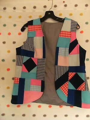 vintage 60s hand made patch work womens vest med costume?