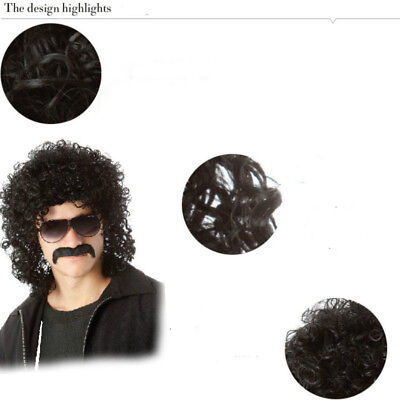Men Black Wig Long Curly Hair Synthetic Hairpiece Toupee Explosion Wigs Costume