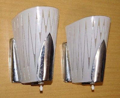 Pair Vtg Virden Mid Century Atomic Modern Chrome Art Deco Light Wall Lamp Sconce