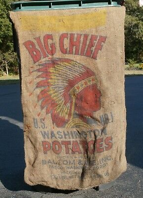 BIG CHIEF WASHINGTON POTATOES  NO.1- Indian Head Burlap Sack-PASCO, WASHINGTON