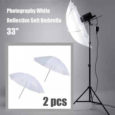 "33"" Photography Studio Lighting Diffuser Translucent Flash Umbrella White 2 pcs"