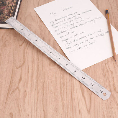 30cm 12 inches Stainless Steel Metal Straight Ruler Precision Scale Double Sided
