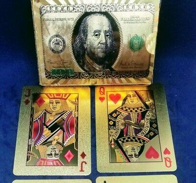 24k Gold Foil Poker Playing Cards Gift Heavy Embossing US $100 On Back