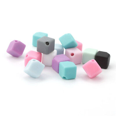 10Pcs Cube Silicone Teething Beads Chewy Teether Bead DIY Baby Necklace Gift W