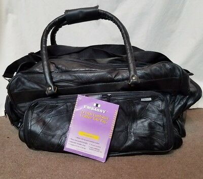 "Embassy NWT Solid Genuine Lambskin Leather 23"" tote duffle travel LARGE bag"