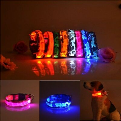 Glow Pet Dog Cat Adjustable Night Safety Collar Nylon LED Lights Waterproof
