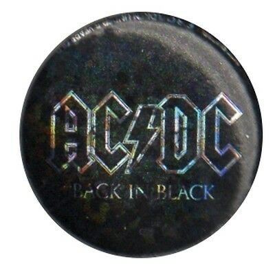 Official ACDC Back in Black Sparkle logo 1 inch button pin badge