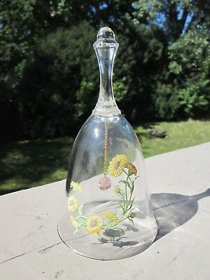 "Vintage AVON:   1986 24% Lead Crystal ""October-Birthday Bell""  with Sunflowers"