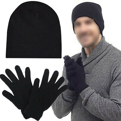 1x 2x Packs MENS THERMAL HAT AND GLOVES WARM WINTER GIFT BOX XMAS CHRISTMAS GIFT