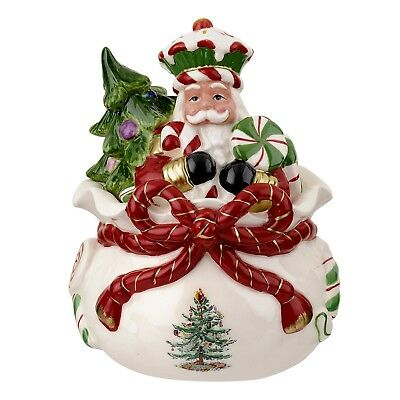 Spode Christmas Tree Peppermint Figural Nutcracker Candy Box. Shipping is Free