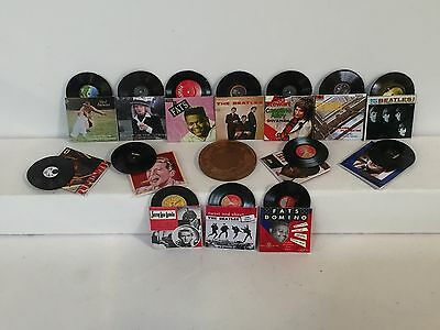 Dolls house 1:12th scale 60's and 70's Record Collection, a set of 14 records wi