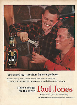 Paul Jones Whiskey Original 1955 Vintage Color Print Advertisement - Two Men