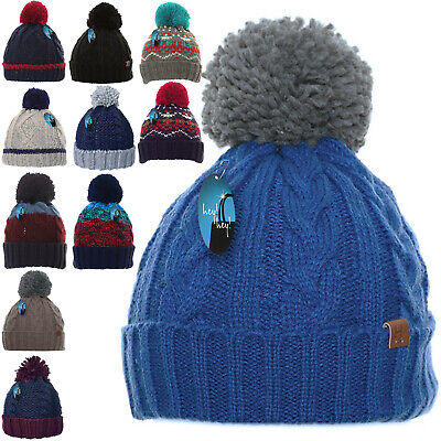 Mens Winter Warm Woolly Bobble Knitted Ski Hat Chunky Thick Pom Beanie Fisherman
