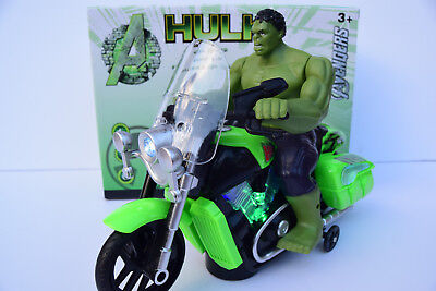 Avengers Hulk Figure & Motorbike Flashing Light & Music Sound Bump N Go