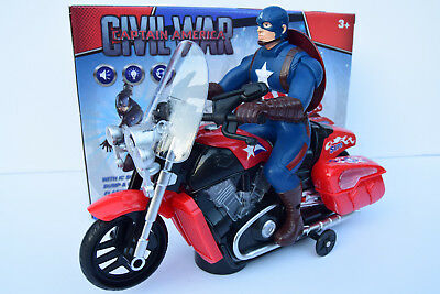 Captain America Figure & Motorbike Flashing Light & Music Sound Bump N Go