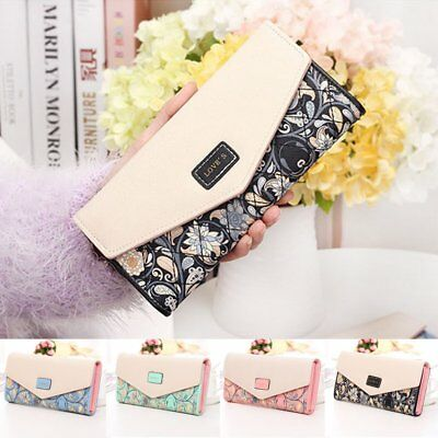 Women Ladies Leather Wallet Envelop Purse Long Card Button Clutch Handbag Bag UK