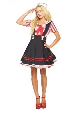 (Small) - Seeing Red Inc. Womens Women's Retro Sailor Girl Fancy dress costume