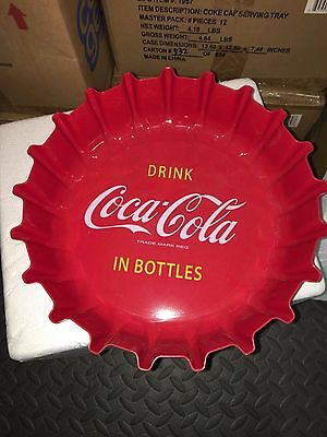 Classic Coke Coca Cola Serving Tray Bottle Cap Drink Round Tray NEW