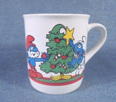Vintage 1981 THE SMURFS Merry Christmas Cup Mug