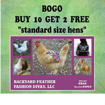 10+2 FREE Chicken Saddle Apron Hen BACK FEATHER PROTECTION BACKYARD POULTRY USA
