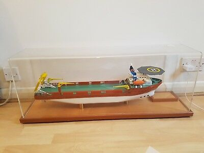 Rare hand built wooded cargo freighter boat in case 3 foot long