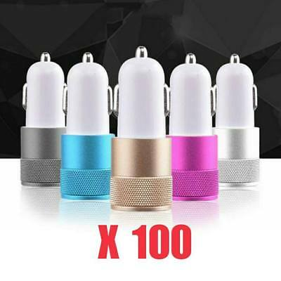 100pcs LOT 2 PORT USB UNIVERSAL CAR CHARGER IPHONE ANDROID METAL TRAVEL ADAPTER