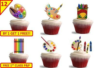 24 Artists Painters Palette Crafts Edible Cup Cake Toppers Decorations STAND UP