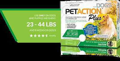 PetAction Plus for Dogs 23-44 lbs 3 applicators (Three month supply)