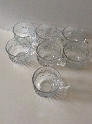 Jeanette Punch Bowl Cups Fruit Grape Pear Peach Set Of 7