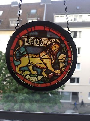 Antique German Stained Glass Lion Bavaria Bayern Shield art deco barock