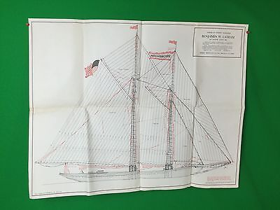 HUGE American Fishing Schooner Benjamin W Latham Model Shipways Co Blueprint #2