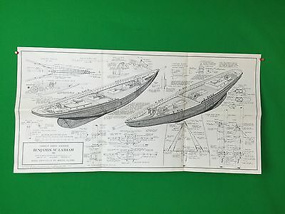 HUGE American Fishing Schooner Benjamin W Latham Model Shipways Co Blueprint #1