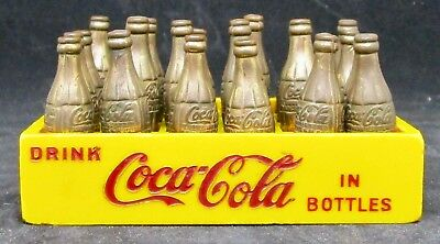 VTG DRINK COCA COLA IN BOTTLES 24 Gold Miniature Bottles In Yellow Plastic Case