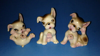 Vintage Japan Playful Puppy Dog Figurines with Pink Flowers Set of 3