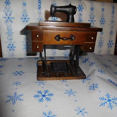 Vintage George Good Wooden Sewing Machine Music Box Plays The Tune Of Yesterday
