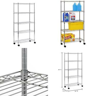 Sandusky Mws301460 Mobile Wire Shelving - 5 Tier With 2 Inch Nylon Casters, Silv