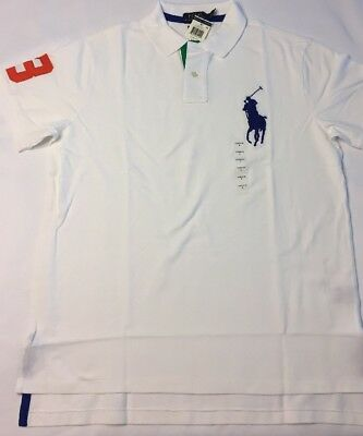 Men's Ralph Lauren Short Sleeve Polo Shirt Big Pony Custom Fit Oxford White