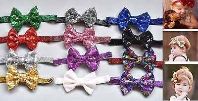 Baby Girls Sequin Bow with Glitter Headbands Hair Band - All Sizes