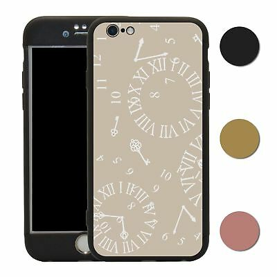 Clock 360° Case & Tempered Glass Cover For iPhone - S2579