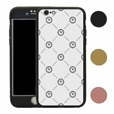 Clock 360° Case & Tempered Glass Cover For iPhone - S2572