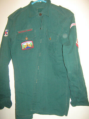 Boy Scouts of Canada Vintage Green Scout Troop Uniform Shirt