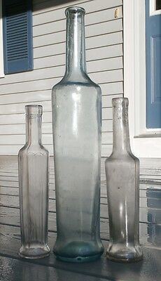 Antique LOT OF THREE OLIVE OIL or PEPPER SAUCE/CONDIMENT BOTTLES