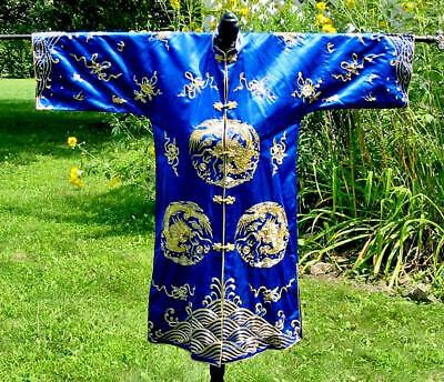 Beautiful Vintage Chinese Embroidered Dragons Waves Cobalt Blue Robe Jacket