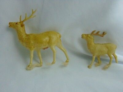 Antique Celluloid Reindeer 2 1930's? Mica Glitter Japan Stamp  Small & Large