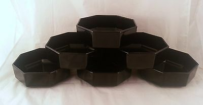 6 Arcoroc Octime Luminarc France Black Octagon Glass Bowls Octagonal