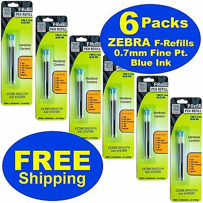 6 Packs 85522, Zebra F-Refills 0.7mm Blue Ink For F-301 Series, F-402, F701