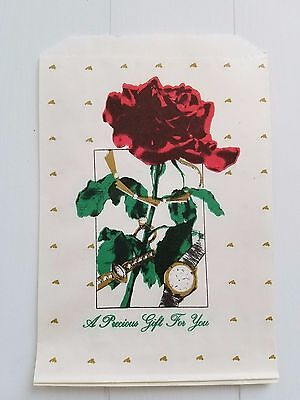Vtg 90 Rose Gift Bags Flat Jewelers Goodies Favors 5 X 7 Red Green Gold Cute